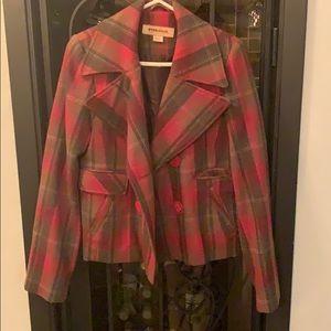A plaid pea coat